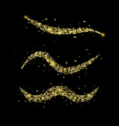 set wave trail with golden sparkle vector image