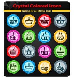 Shopping basket icon set vector