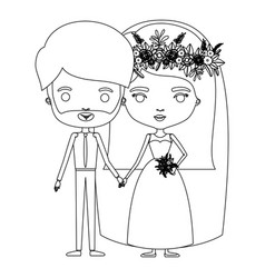 Silhouette caricature newly married couple bearded vector