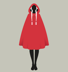 Silhouette little red riding hood combed vector