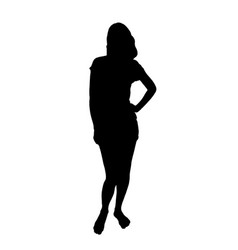 silhouette of a barefoot girl standing in shorts vector image