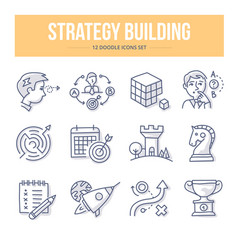 Strategy building doodle icons vector