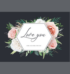 stylish floral wedding invite card valentine vector image