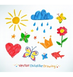 Summer felt pen child drawing vector
