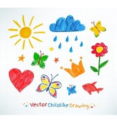 Summer felt pen child drawing vector