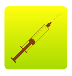 syringe sign brown icon at vector image