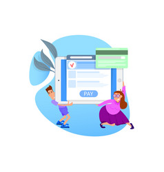 The concept of online payment by card tiny people vector