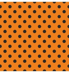 Tile black polka dots on orange background vector image