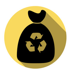 trash bag icon flat black icon with flat vector image
