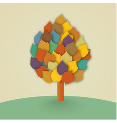 tree with leaves in the meadow vector image