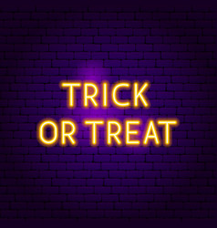 trick or treat neon sign vector image