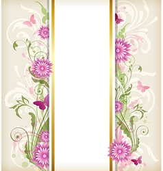 Vintage floral background with pink flowers vector