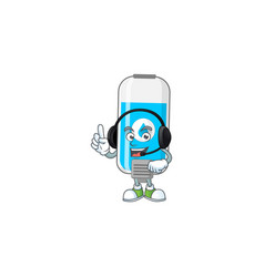 Wall hand sanitizer cartoon speaking on headphone vector