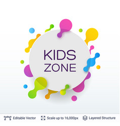 White badge kids zone sticker vector