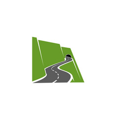 Winding mountain road or highway with tunnel icon vector