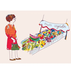 Woman at the fruit and vegetables market vector image