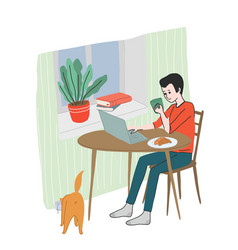 young man has a breakfast at home reading news vector image