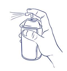 aerosol spray in hand spraying vector image