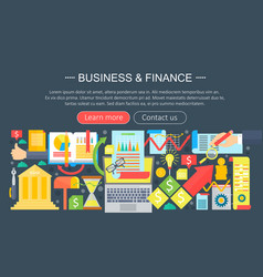 business and finance flat icons concept business vector image vector image