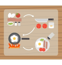 Fried eggs making process preparing food icons set vector image