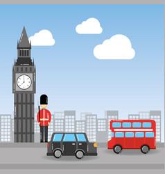 london big ben soldier decker bus and taxi urban vector image
