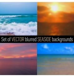 Set of blurred seaside backgrounds vector image
