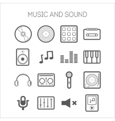 Set of simple icons with musical objects vector image