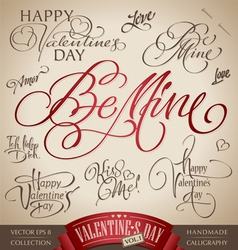 valentines hand lettering set vector image