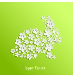 Easter Rabbit Bunny of White Flowers vector image vector image