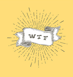 wtf outline wtf icon in vintage hand drawn ribbon vector image vector image