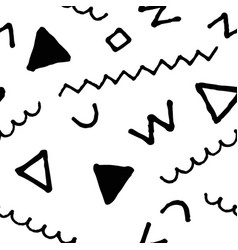 black and white doodle seamless pattern vector image vector image