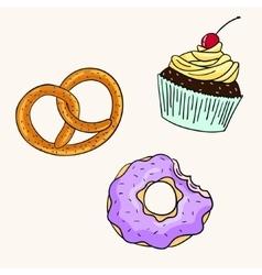 Donut cupcake pretzel color vector image