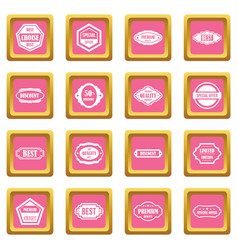 golden labels icons pink vector image vector image