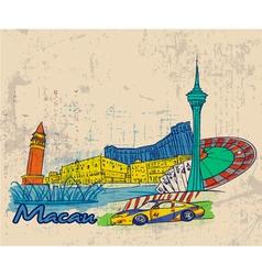Macau doodles vector