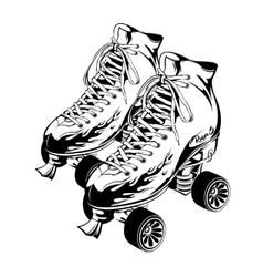 Pair Of Monochrome Quad Roller Skates vector image