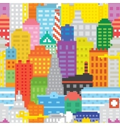 Pixel art city seamless pattern vector image vector image
