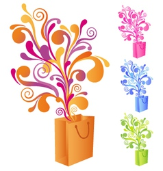 shopping bag with swirly ornaments vector image vector image