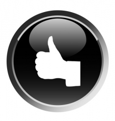 thumb up sign round button vector image