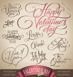 valentines hand lettering set vector image
