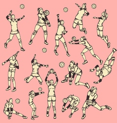 Woman Volley Ball Action Sport vector image vector image