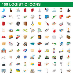 100 logistic set cartoon style vector image vector image