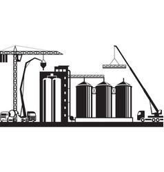 construction of grain silo vector image vector image