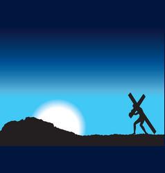 Jesus carries cross vector image vector image