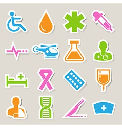 Medical sticker icons set eps 10 vector image