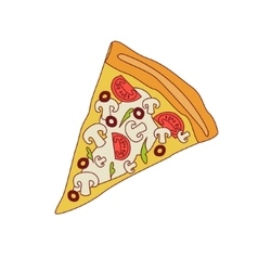 Pizza Slice With Mushrooms And Tomato vector image