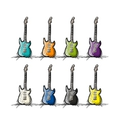 Set of guitars sketch for your design vector image