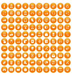 100 contact us icons set orange vector