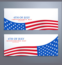 4th of july flag banners vector