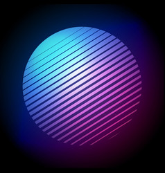 80s retro style striped halftone circle shape vector image