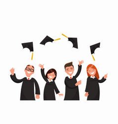 A group of graduates toss their caps vector